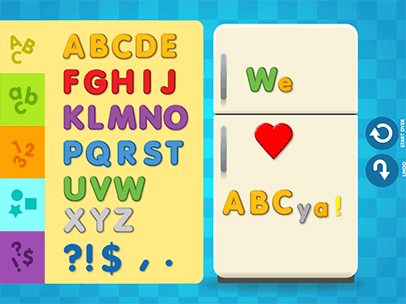 children can practice alphabet number and punctuation recognition by clicking and dragging magnets to the refrigerator children will hear the letter or