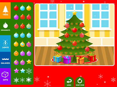 click and drag the ornaments decorations and gifts to decorate a christmas tree you can add a custom message and your name before you save - Photos Of Decorated Christmas Trees
