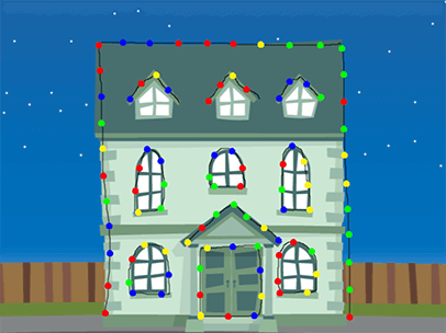 its time to put up the christmas lights click and drag the mouse to hang lights on the house a fun christmas computer activity for children and students - Christmas Games For Toddlers