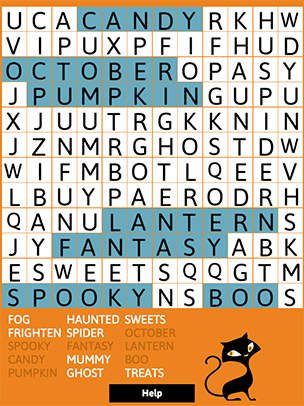 halloween word search is a fun holiday activity for children of all ages puzzles can be created two ways a small grid with shorter words or a larger grid